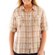 St. John's Bay® 3/4-Sleeve Gauze Campshirt - Plus