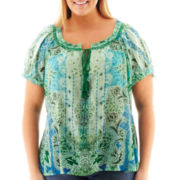 St. John's Bay® Short-Sleeve Sublimation Print Peasant Top - Plus