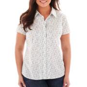 St. John's Bay® Short-Sleeve Button-Front Campshirt - Tall