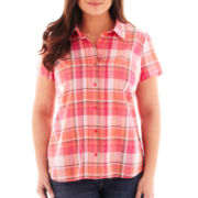 St. John's Bay® Short Sleeve Button-Front Campshirt - Tall