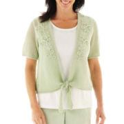 Alfred Dunner® Garden District Crochet Tie-Front Layered Top