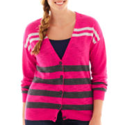 Arizona Long-Sleeve Striped Boyfriend Cardigan - Plus