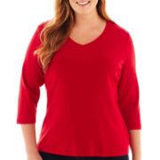 St. John's Bay® Essential 3/4-Sleeve V-Neck Tee - Plus