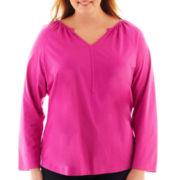 St. John's Bay® Raglan-Sleeve Y-Neck Top - Plus