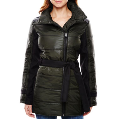 jcpenney.com | KC Collections Mixed Media Belted Puffer Jacket
