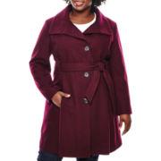 Worthington® Funnel-Neck Wool-Blend Coat - Plus