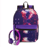 Galaxy-Print Backpack and Headphones