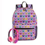 Cat-Print Backpack and Headphones