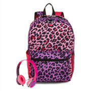 Cheetah-Print Backpack and Headphones