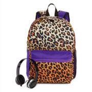 Cheetah-Print Backpack and Headphones