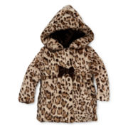 Pistachio Faux-Fur Animal-Print Jacket - Toddler Girls 2t-4t