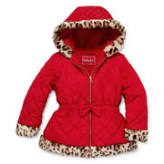 Pistachio Leopard-Trimmed Quilted Jacket - Preschool Girls 4-6x