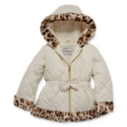 Pistachio Leopard-Trimmed Quilted Jacket - Toddler Girls 2t-4t