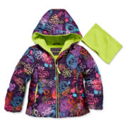 Pistachio Graffiti Puffer Jacket and Scarf - Toddler Girls 2t-4t