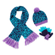 Toby Cheetah-Print Beanie, Scarf and Gloves - Girls 7-16