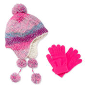 Capelli of New York Pompom Hat and Gloves - Girls One Size