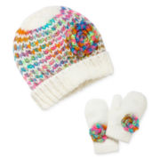 ABG Rainbow Crochet Beanie and Mittens - Girls One Size