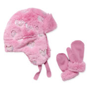 Toby Faux-Fur Trapper Hat and Mittens - Girls One Size