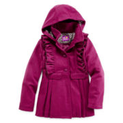 Pink Platinum Faux Wool Ruffle Coat - Girls 7-16
