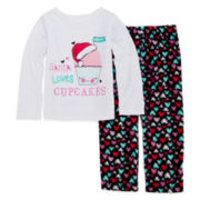 Okie Dokie® Santa Cupcake Pajama Set  - Preschool Girls 4-6x