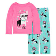 Okie Dokie® Santa Dog Pajama Set - Preschool Girls 4-6x