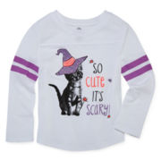 Okie Dokie® Long-Sleeve Football Tee - Baby Girls newborn-24m