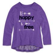 Arizona Long-Sleeve Lace Peplum Top - Toddler Girls 2t-5t
