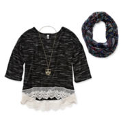 Beautees Lace-Hem Top, Scarf and Necklace - Girls 7-16 and Plus