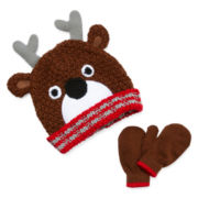 Reindeer Hat and Mittens Set - Boys