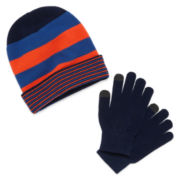 Rolled Cuff Hat and Gloves Set - Boys 8-20