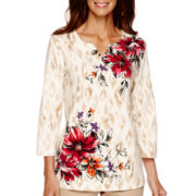 Alfred Dunner® 3/4-Sleeve Asymmetrical Floral Print Top