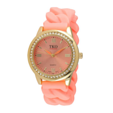 jcpenney.com | TKO ORLOGI Womens Crystal-Accent Chain-Link Light Pink Silicone Strap Stretch Watch