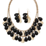 Mixit™ Black Bead and Glittery Disc Earring and Necklace Set