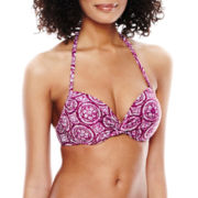 Stylus™ Print Push-Up Halter Swim Top