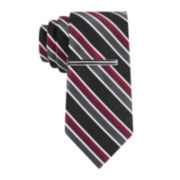 JF J. Ferrar® Brett Stripe Tie and Tie Bar - Slim