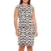 R&K Originals® Cap-Sleeve Zip-Shoulder Sheath Dress - Plus