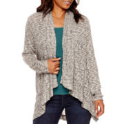 a.n.a® Long-Sleeve Textured Knit Cardigan- Petites