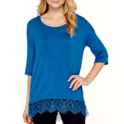 a.n.a® Elbow-Sleeve Lace-Trim Drop-Shoulder Layered Top