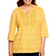 St. John's Bay® Short-Sleeve Jacquard Lace Henley - Plus
