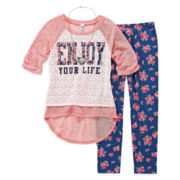 Knit Works Lace Tee, Leggings and Necklace - Girls 7-16 and Plus