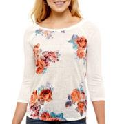 Arizona Raglan-Sleeve Floral Baseball T-Shirt