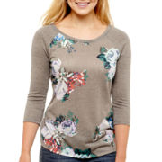 Arizona Raglan-Sleeve Floral Baseball T-Shirt