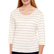Arizona Long-Sleeve Lace-Yoke T-Shirt - Plus