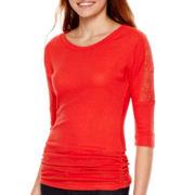 Self-Esteem® 3/4-Sleeve Ribbed Lace-Panel Top