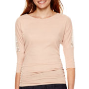 Self-Esteem® 3/4-Sleeve Ribbed Lace-Panel Top