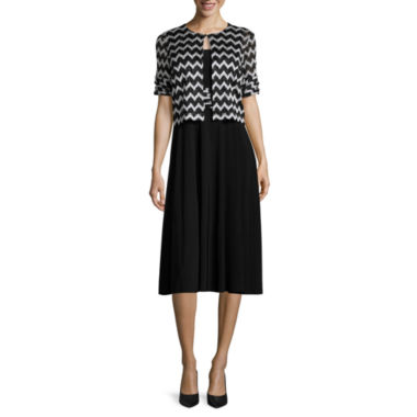 jcpenney.com | Perceptions 3/4-Sleeve Chevron Bolero Jacket Dress