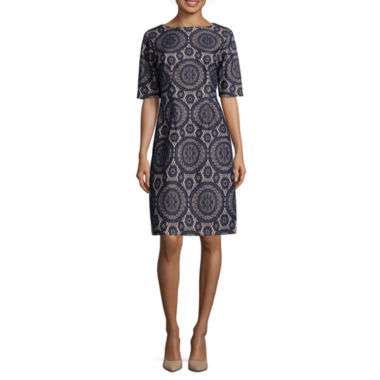 jcpenney.com | Madison Leigh Elbow Sleeve Lace Shift Dress