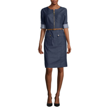 jcpenney.com | Sharagano 3/4-Sleeve Denim Belted Shirtdress