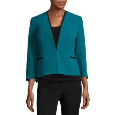 jcpenney.com | Black Label by Evan-Picone 3/4-Sleeve Collarless Jacket with Contrast Trim