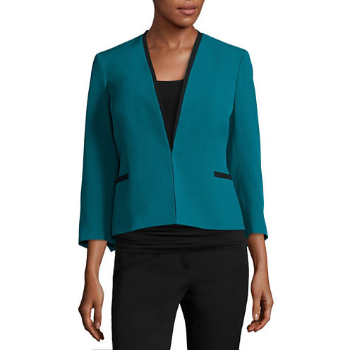 Black Label by Evan-Picone 3/4-Sleeve Collarless Jacket with Contrast Trim